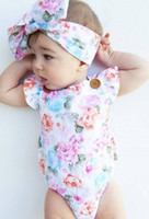 Wholesale Diaper Covers Ruffles - INS 2017 Baby girl kids toddler Summer 2piece set outfits Rose floral Romper Onesies Diaper Covers Jumpsuits Ruffles Sexy Back + Headband
