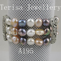 Discount pink pearl fashion jewelry set - AA 7-8mm 3row white pink black fresh water pearl elastic bracelet fashion jewelry A195