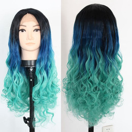 Wholesale Long Light Blue Wigs - Three tone off black 1b# dark blue light blue free part ombre synthetic lace front wig ,long wigs for black women halloween
