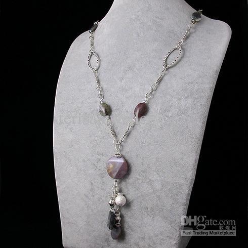 spezielle design-Ausgefallene Jasper crystal tibetischen Silber Kette Halskette neuen Stil Schmuck Halskette A1623