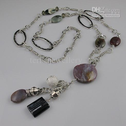 diseño especial de lujo Jasper cristal de plata tibetana collar de cadena nuevo estilo A1623 collar de la joyería