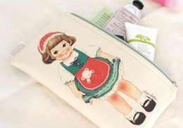 Wholesale Paper Doll Pencil - 10pcs cartoon Paper doll leather pencil case PU pencil bag smart pouch functional pocket korea style