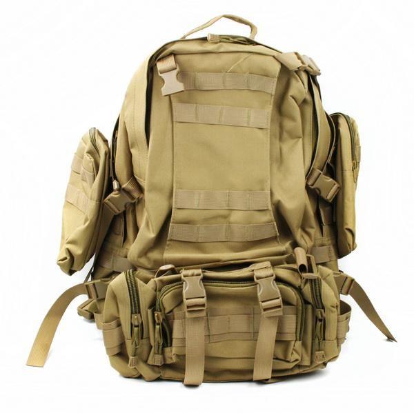 2018 Molle Survival Tactical Backpack Khaki Waterproof Large ...