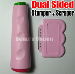 Wholesale Double Stamper Nail - Nail Art Dual Ended Double Sided Stamp Stamper + Scraper Kond Stamping Tool for Image Plate Template