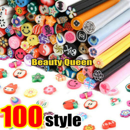 Wholesale Decorative Rods - 100 Mixed Different Designs Nail Art FIMO Polymer Clay Cane Sticks Rods Sticker Fruit Flower 3D Decorative Slice Tips 5cm Length DIY NEW