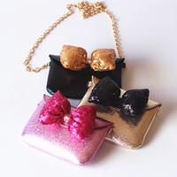 Wholesale Princess Coin - 2017 New Princess Girls Bags Chain Bag Sequins Bowknot Girl Mini Bag Fashion Children Shoulder Bags Cute Coin Purse Messenger Bag A6099