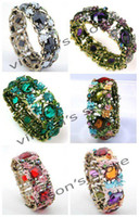 Wholesale rhinestone stretch bracelets wholesale - 10pcs Copper Crystal Rhinestone Stretch Bangle Bracelet Jewelry Freeshipping Mixed Colors