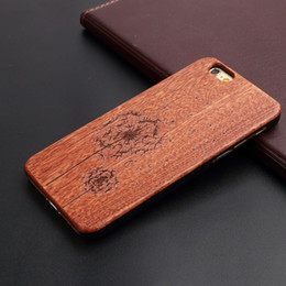 $enCountryForm.capitalKeyWord Canada - Wood Cell Phone Case U&I Real Natural wood with Carving Pattern PC Rubber Coating Shockproof Protective Cover Case for iphone 6 6plus 7