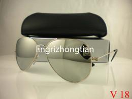 Wholesale Clear Sunglasses Uv Protection - 1Pcs Designer Classic Pilot Sunglasses Men's Women's Sun Glasses Eyewear Gold Black 58mm Glass Lenses Exceptional Quality UV Protection box