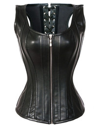 Wholesale Steel Busk - Sexy Full steel boned faux leather corset punk Leather PVC Lingerie zipper front busk closure and strong lacing cord for cinching C8526