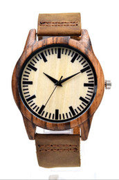 Wholesale Leather Hand Bands For Women - Fashion Light Hand-made Wooden Watches Made of Bamboo Wristwatch with Leather Band for Men Women relojes de madera