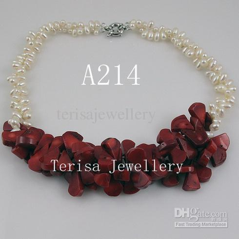 Design spécial mélanges couleur perle corail collier 2rows femme collier / livraison gratuite A214