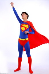 Wholesale Sexy Super Man Cosplay - Blue Super Man Adult Size Back Zip Men Cosplay Outfit Fancy Lycra Catsuit
