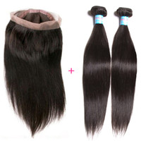 Wholesale Straight Human Hair 3pcs - Free Part Straight 360 Lace Frontal Closure With Human Hair Bundles 3pcs Lot Natural Full Lace Frontal Closure With Baby Hair Extensions