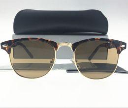 Wholesale Tortoise Fashion Frames - 1pcs Fashion Designer Sunglasses Semi Rimless Sun Glasses For Mens Womens Tortoise Frame Brown Lens 51mm Glass Lenses With Cases