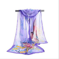 Wholesale Wholesale White Chiffon Silk Scarves - Cheap New Design Fashion Long Scarf Wholesale Retro Flower Butterfly Print Chiffon Silk Scarf Soft Chiffon beach scarves 160*50cm