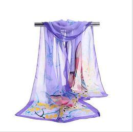 Soft Silk Scarf blue online shopping - Cheap New Design Fashion Long Scarf Retro Flower Butterfly Print Chiffon Silk Scarf Soft Chiffon beach scarves cm