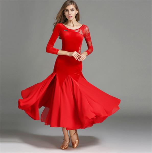 c77dc8e9c74e ... da sposa. Nuove donne moderne vestono pizzo cuciture velluto Waltz  quickstep Tango Foxtrot costume concorrenza abbigliamento standard ballo