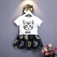 Wholesale wholesale cat suits - Baby Girls Outfits Girl Summer Cat Clothes Suit Short Sleeve Top +Skirts 2 PCS Kids Suit Clothing Sets