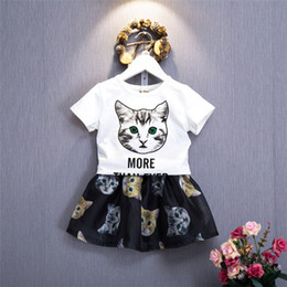 Wholesale cat suits - Baby Girls Outfits Girl Summer Cat Clothes Suit Short Sleeve Top +Skirts 2 PCS Kids Suit Clothing Sets