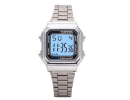 Wholesale Table Pin - 2017 A-179W LED retro electronic watch metal couple table
