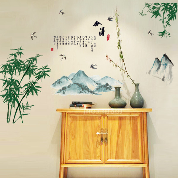 Chinese Poet Gaining Deserting Bamboo Wall Stickers Flying Birds Mountains Classic Culture Wallpaper Poster Living Room Booking Room Decal