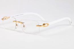 Wholesale Pilot Glasses Gold - Men Rimless Glasses Wooden Buffalo Horn Glasses Brand Optical Sunglasses Women Silver Gold Wood Glasses Carving Eyewear Frames