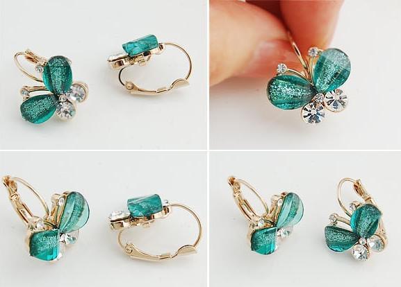 Новая смола бабочки крылья сверкающие серьги стержня уха с имитацией Алмаз моды женщин