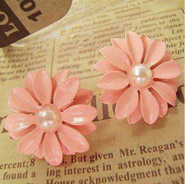 Wholesale Pink Ear Studs - New Arrival Pink flowers Earrings ear stud With pearl Fashion Women's Fast Despatch 30pair lot