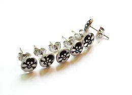 Wholesale 316l Ear Plugs - Classic Skull Steel Fake Ear Plug Earrings Stud 316L Stainless Steel Promotional gift 8mm ball