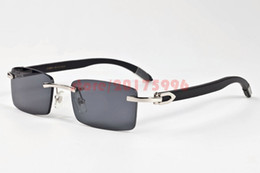 Wholesale Clear Lens Wood Glass - Brand Designer Sunglasses for Mens 2017 Fashion Metal Frame Rimless Wood Buffalo Horn Glasses Brown Gray Clear Lenses Gold Silver oculos