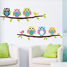 Wholesale Wallpaper Cartoon Owl - Cartoon Owl Wall Stickers removable for Kids Nusery Rooms Decorative Wall Decals Home Decoration Movie Wallpaper Wall Art Windows