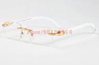 Wholesale Trendy Glasses For Girls - New Trendy Retro Rectangle Sunglasses Buffalo Horn Glasses for Men Rimless Wooden Carved Glasses Women Gold Bamboo Carving Eyewear Frames