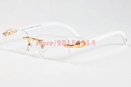 Wholesale Trendy Black Sunglasses - New Trendy Retro Rectangle Sunglasses Buffalo Horn Glasses for Men Rimless Wooden Carved Glasses Women Gold Bamboo Carving Eyewear Frames
