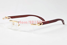 Wholesale Mens Designer Eye Glasses - 2017 Brand Designer Sunglasses for Mens Fashion Metal Frame Rimless Wood Buffalo Horn Glasses Brown Gray Clear Lenses Gold Silver oculos