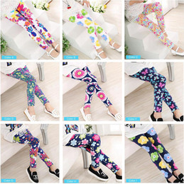 Wholesale Printing Baby Fashion - Fashion Spring kids Clothing Girl Pants Printing Flower Girls Leggings Toddler Classic Legging for 2-13Y Baby Childrens Ankle Leggings