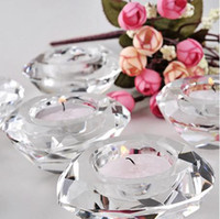 Wholesale Diamond Candles - wedding favor--Crystal Diamond-Shaped Tea Light candle Holder different color ws009