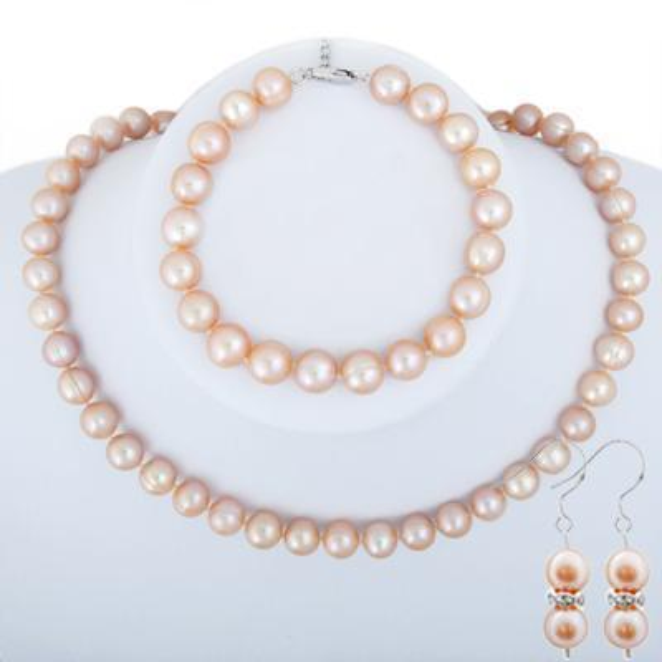 Set orecchino per bracciale con collana di perle rosa 9-10mm