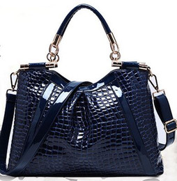 real alligator purse Canada - High quality women fashion brand new patent cowhide real Leather Crocodile pattern handbag shoulder bag tote satchel purse Md05