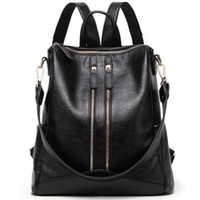 Wholesale Leather Fashionable Backpacks - New Fashionable Black Leather Backpack 2017 High Quality Youth Travel Casual Suckpack Shoulder Trendy Top Handle School Backpack