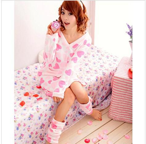 f131a56b4bf1 SWEET SEXY FEMALE SLEEPWEAR CUTE PRINCESS CORAL VELVET SKIRT PINK PAJAMAS  LEG WARMERS WINTER SW033 on The Hunt