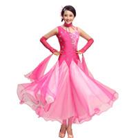 trajes de dança de diamante venda por atacado-NOVA Modern dance dress mulheres diamante bordado Waltz Tango Foxtrot quickstep competição roupa padrão de dança de salão saia 09