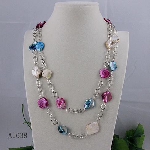 conception spéciale bijoux chaîne en argent plaqué + mélange couleur shell collier livraison gratuite 1pcs / lot A1638