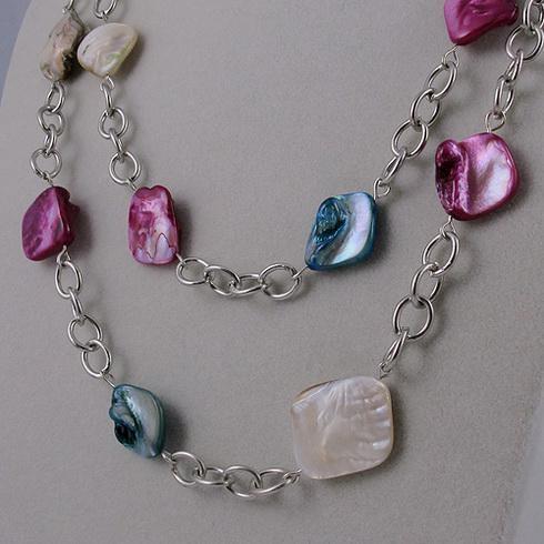 diseño especial de la joyería plateado plata + mezcla collar de conchas de color envío gratis 1 unids / lote A1638