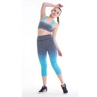 Wholesale Gradient Color Leggings - Hot new gradient color seven points gradient self-cultivation sweat leggings Hot series preferred sports pants