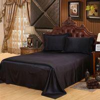 dessus de lit de luxe achat en gros de-Livraison Gratuite Luxe Satin Soie Drap De Lit King Queen Twin Taille Solide Noir plat drap couvre-lit draps de haute qualité
