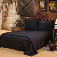 Wholesale Queen Satin Bedspreads - Free Shipping Luxury Satin Silk Bed Sheet King Queen Twin Size Solid black Flat bedsheet bedspread High quality sheets