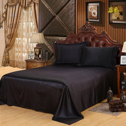 Wholesale Bedspread Silk - Free Shipping Luxury Satin Silk Bed Sheet King Queen Twin Size Solid black Flat bedsheet bedspread High quality sheets