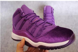 Wholesale Mens Purple Canvas Shoes - With Box Free Shipping Retro 11 XI Retro 11 GS Velvet Heiress Basketball Shoes Mens Wine Red Purple black blue kids Sneakers