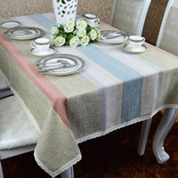 Wholesale Stripe Tablecloth - Simple modern table cloth,farmhouse style linen tablecloth,Silver stripes housecloth,other size can be customized